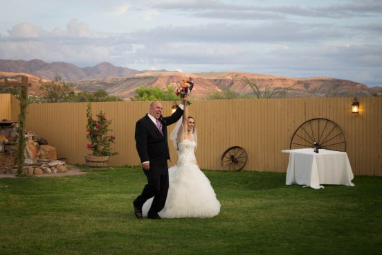 bride and groom on grass
